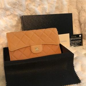 New Chanel Quilted Carviar Trifold Long Wallet